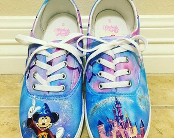 116dea6df6ec Disney Mickey Mouse and castle hand painted shoes made to order. Generic  brand.