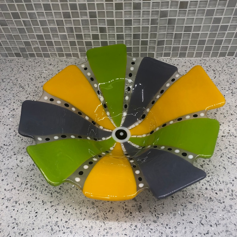 Approx 12 diameter Festive Fused Glass Wavy Bowl in Purple Yellow and Lime Green