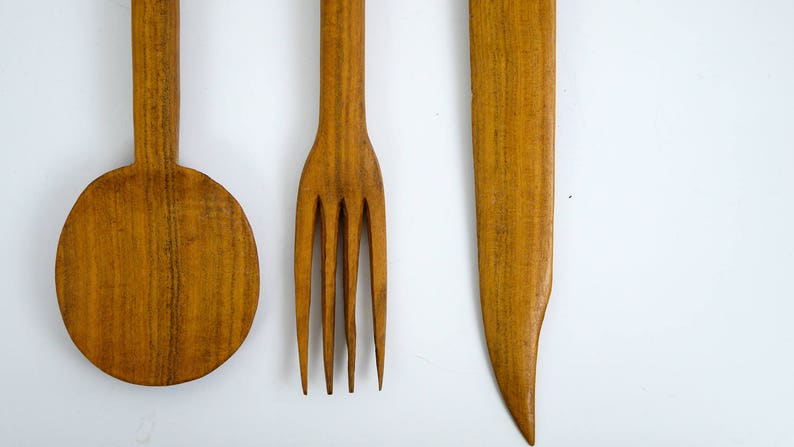 Free US Shipping Vintage Mid Century Salad Tong Set African Wood Hand Carved 3 piece