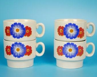 Vintage Espresso Mugs Weidmann Porzellan Red Blue Flowers Set of 4