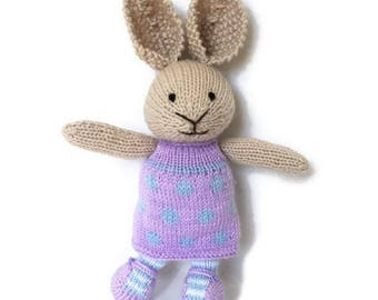 Plush Bunny, Bunny Doll, Stuffed Bunny, Girl Bunny, Wool Toy, Knit Toy, Handmade Toy, Stuffed Animal, Soft Toy, Baby Girl Gift, Bunny Rabbit