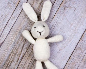 Easter Bunny, White Bunny, Knit Bunny, Plush Doll, Baby Soft Toy, Baby Photo Prop, Stuffed Animal, Easter Basket Filler, Handmade Doll
