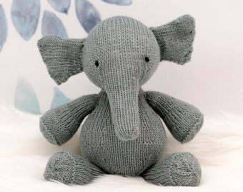 Stuffed Elephant, Plush Elephant, Elephant Doll, Knit Stuffed Animal, Knit Toy, Handmade Toy, Grey Elephant, Kids Toy, Baby Gift, Soft Toy,