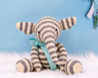 Knit Elephant, Baby Gift Idea, Kids Gift, Handmade Doll, Elephant Doll, Cute Stuffed Animal, Knit Toy, Plush Doll, Wool Toys, Gender Neutral