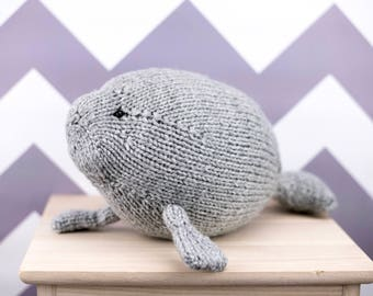 Manatee Stuffed Animal, Knit Toy, Baby Gift, Sea Cow, Soft Toy, Handmade Toy, Plush Toy, Kids Toy, Baby Shower Gift, Ocean Animal
