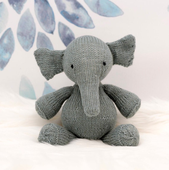 Stuffed Elephant Plush Elephant Elephant Doll Knit Stuffed Etsy