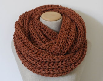 Knitted infinity scarf, super chunky infinity scarf, loop scarf, vegan clothing, circle scarf, blanket scarf, burgundy, choose your color