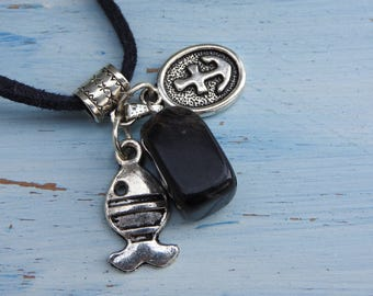 Fisherman necklace with smoky quartz stone pendant - necklace with marine charms - fish and anchor - gift for men - crystal stone jewellery