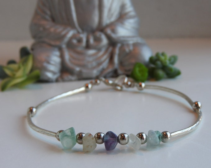 Featured listing image: Delicate and fine bracelet with fluorite stone beads crystals - reiki therapy for the balancing of the chakras - minimalist jewelry - Size M