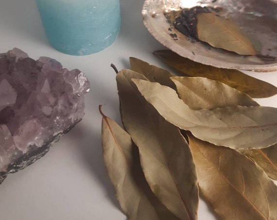 Dried Laurer Leaves for Smudging - Purifying - Burning leaves - Natural Incense - Cleansing Crystals - Smudging Rituals - Wicca - Wiccan