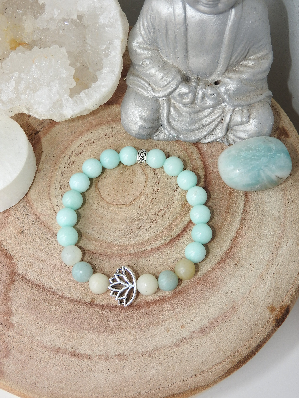 Joy and Inner Peace Mala Bracelet - Amazonite and Jade - Lotus Mala