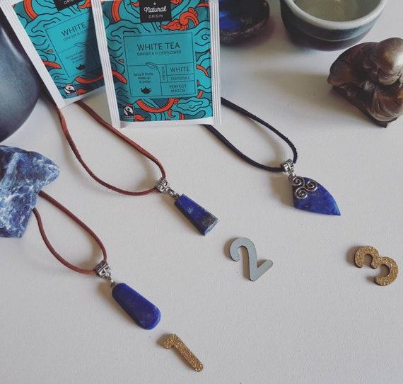 Lapis lazuli blue gemstone necklace - reiki - third eye - ajna chakra - anti-migraines - anti-emf - well-being jewellery - wicca pendant