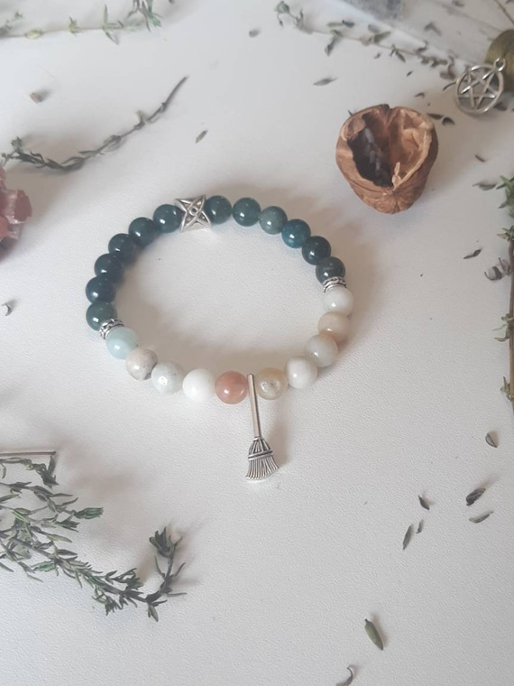 Joy and Inner Peace Mala Bracelet - Amazonite and Jade - Lotus Mala - Lucid Dreams - Connection to spiritual realms - Depression helper