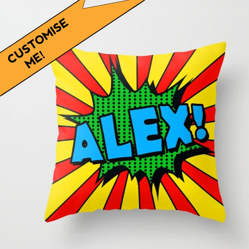 Personalised name pillow, custom pillow, personalised gift, pop art, gift  for him, cushion, pillow cover, gift for child, colorful, unique