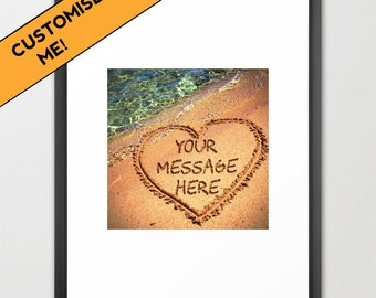 Your message in sand, custom wall art, personalised, framed print, personalised gift, wedding gift, romantic, beach lover gift, vacation