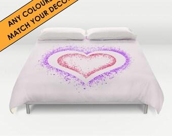 Bespoke colours duvet cover, match your colours exactly, queen duvet, king duvet, double, full duvet, hearts, romantic, personalised duvet