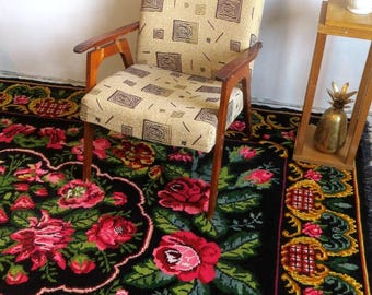 rose kilim rug floral rug tapis kilim aux roses wool rug beni ourain rugmorrocan rugslarge area rugsbohemian rugscolorful rugs - Tapis Kilim