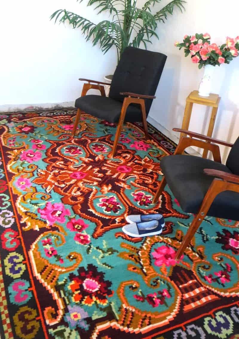 Großen Kelim Türkis große Kelim Teppich Tapis Blumen