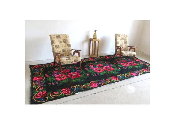 Rose Kilim Rugs Kilim With Roses Tapis Kilim Moldave Etsy