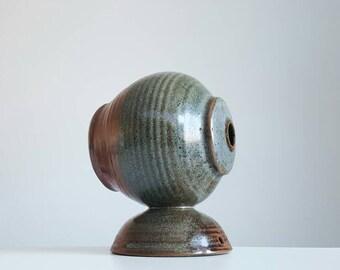 Vintage studio art pottery ceramic oil lamp / bud vase / weed jar / signed HP