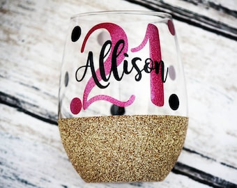 21st Birthday Wine Glass Personalized Glitter Gift 30th 40th 50th Keepsake Gifts For Her Legal