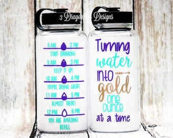 Turning Water into Gold One Ounce At A Time, Breastfeeding Water Bottle, Water Intake Tracker, Inspirational Water Bottle, Baby Gift, Shower