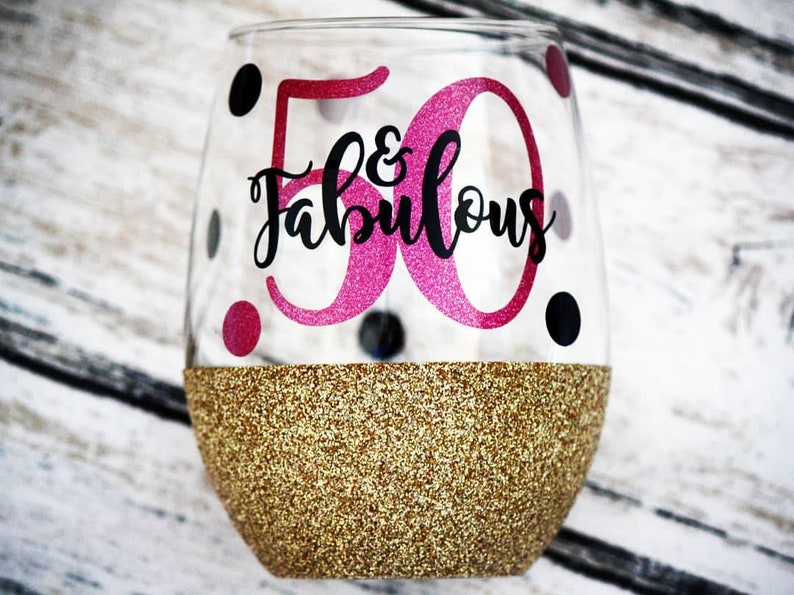 50 And Fabulous 50th Birthday Gift Glitter Wine Glass Best