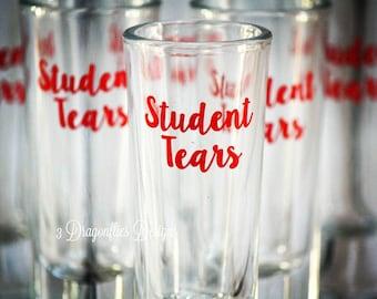 Student Tears, Shot Glasses, glitter shot glass, dark humor, teacher gag gift, funny teacher gift,  Gifts for teachers, professor gift