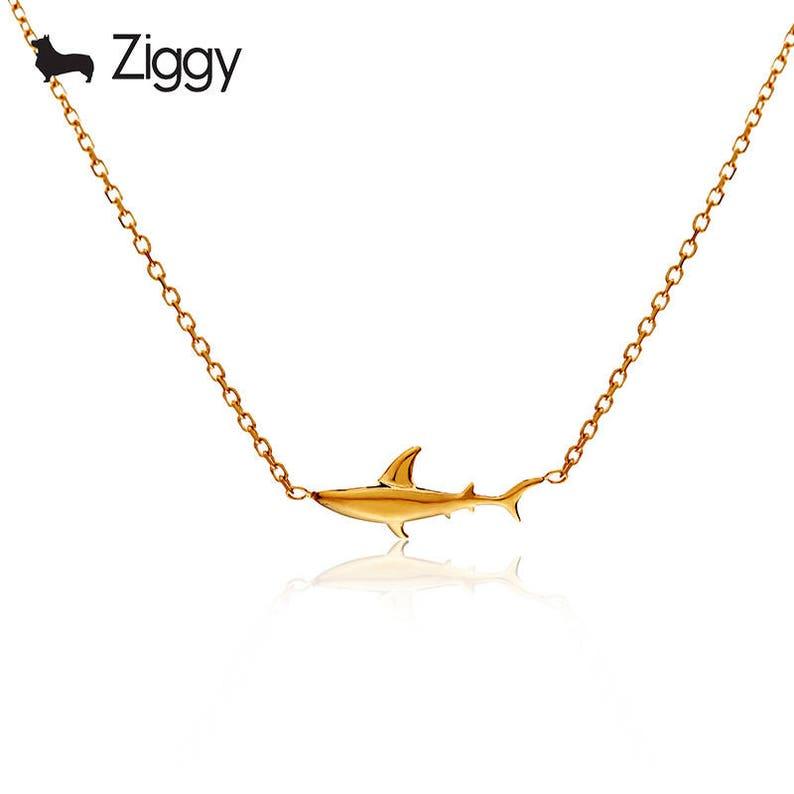 Valentine/'s Day summer necklace fish necklace fish jewelry sea  animal necklace  fish Sark Necklace 18k gold necklace marine organism