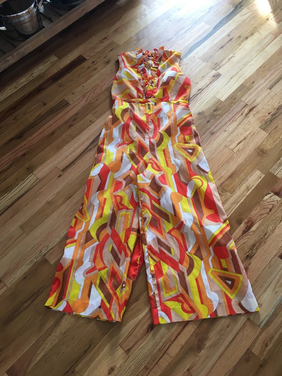 Wild Psychedelic 1960s/1970s Palazzo Pant Jumpsuit