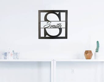 Custom Square Monogram Metal Art