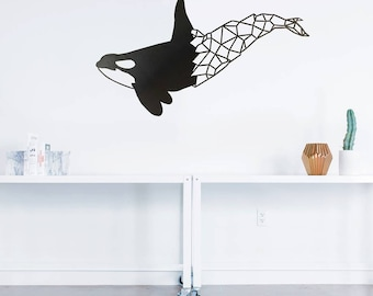 Geometric Orca Metal Art
