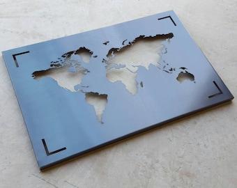 World Map Metal Art