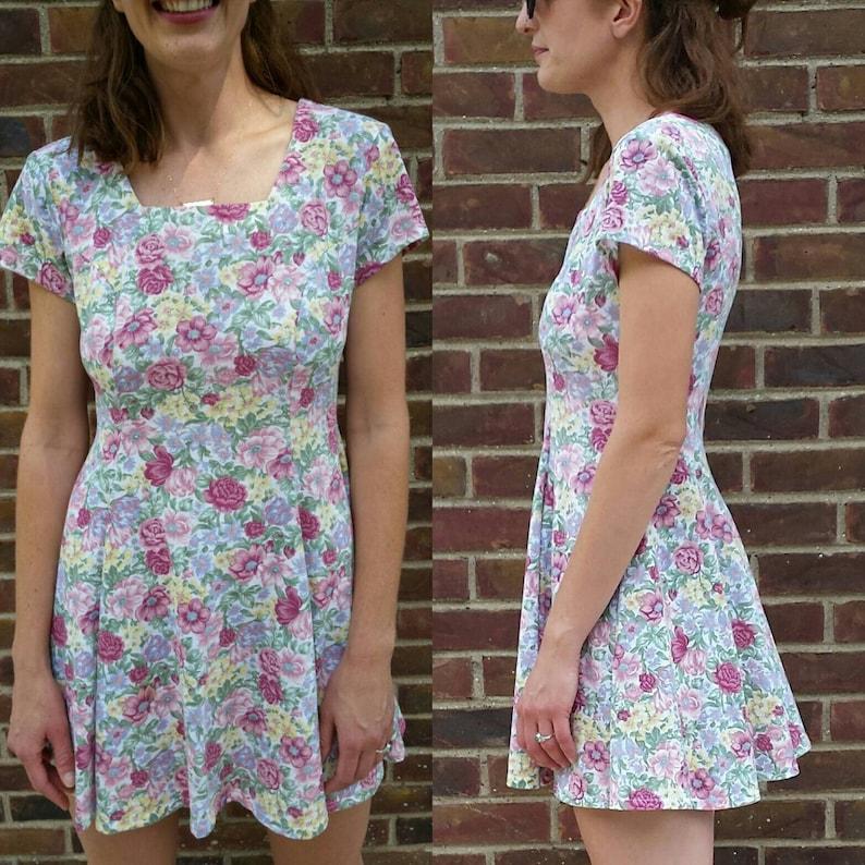 bdc2482f44d0 Adorable Vintage 90s Floral Mini Dress Size Medium Festival | Etsy