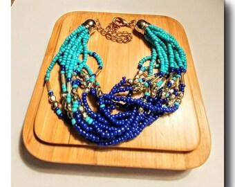 "Gold and silver plated beaded bracelet.""Ocean Tide"" beaded,bracelet,gift,delicate,blue bead,pastel colors,gold plated,silver plated."