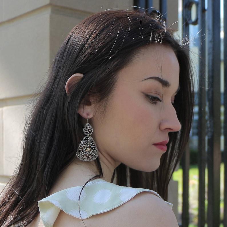 Sterling Silver Jewelry Filigree Earrings Mediterranean Drops Earrings Triangle Earrings Handmade Earrings Sterling Silver .925