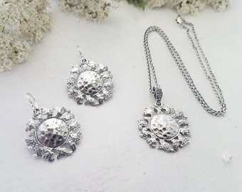 Sunshine Jewelry Gift Set, Sun Jewelry Gift Set, Sunshine Necklace and Earrings, Sterling Silver Jewelry, Sterling Silver .925