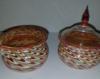 Jason Probstein Signed Art Glass Asheville NC Hand blown Creamer and Lidded Sugar Bowl - HTF