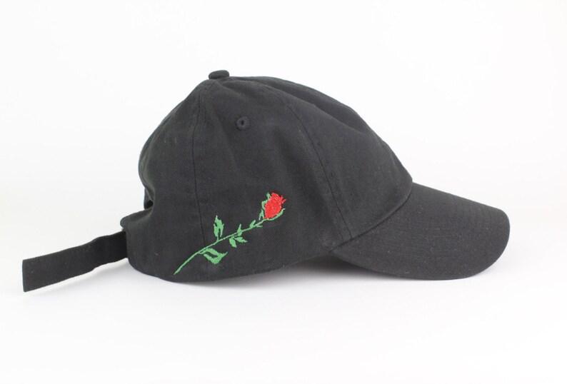 Rose Hat Black Script Embroidered Dad Hat Side Design  95d72ef89f7