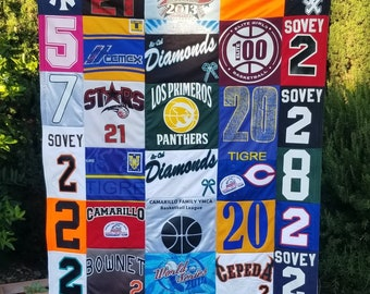 Custom Memory Quilt with Sports Jerseys, memory quilt with personalized message.  Graduation gift, retirement gift.  Gift for family.