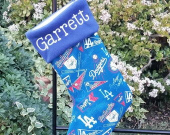 Personalized Christmas Stocking Made with LA dodger fabric, a Christmas stocking with a fleece cuff, Los Angeles Dodgers Fabric Stocking