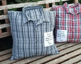Memory Pillow made with your loved ones clothing items.  Bereavement gift, Christmas gift.  Gift for family. Personalized keepsake pillow.