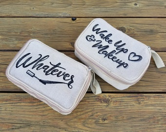 Embroidered Toiletry bag, Personalized cosmetic bag, Custom cosmetic bag, Personalized Travel bag, makeup bag, Fun Gift for her, Sew4MyLoves