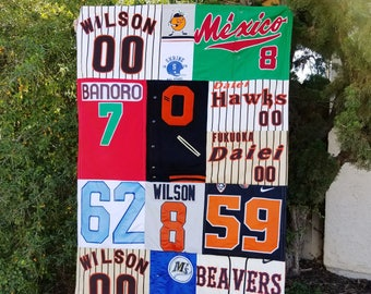 Custom Memory Quilt with Sports Jerseys, lasting memory quilt, lap quilt, throw quilt, personalized quilt with Sport Jerseys by Sew4MyLoves