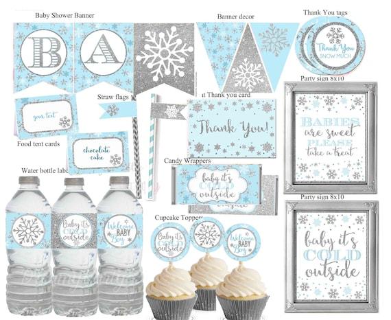 Winter Wonderland Baby shower Decorations, Winter Baby Shower Decor, Blue  and Silver Winter Shower, Printable Baby shower, Digital File.