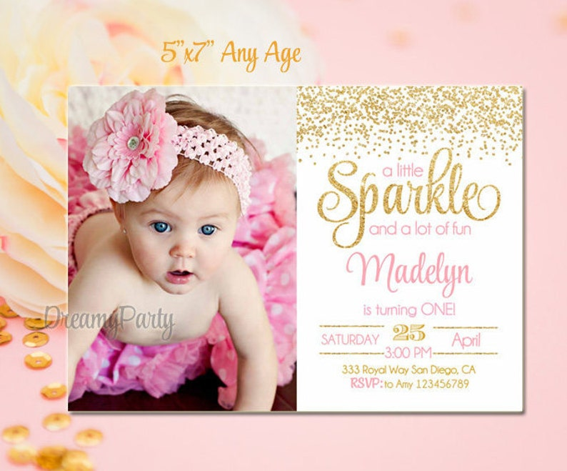Pink And Gold First Birthday Invitation Sparkle