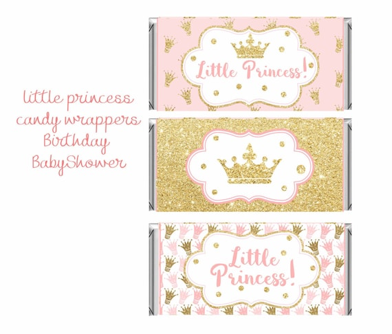 12 Royal Princess Hershey Candy Bar Wrapper Personalized Baby Shower Birthday