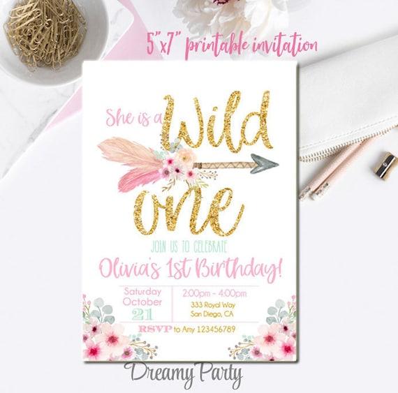 wild one invitation wild one birthday invitation 5x7 tribal etsy