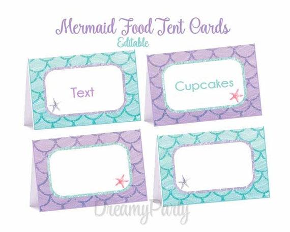 Mermaid Food Tent Cards Mermaid Party Decorations Mermaid