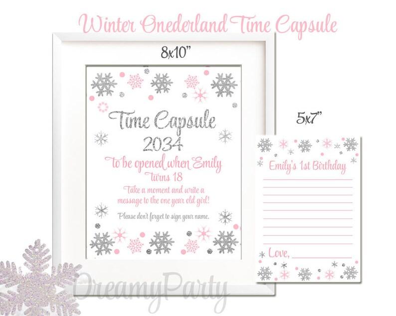 Digital File Winter ONEderland Time Capsule Winter Shower,TCW002 Pink and Silver Time Capsule,Winter Onederland Winter 1st Birthday